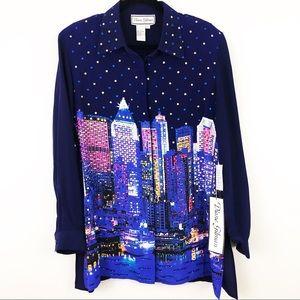 DIANE GILMAN silk cityscape sequined blouse | Sz L